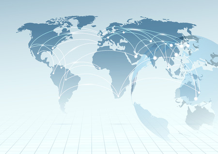 Global communicational channels background.