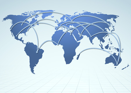 logistics world: World trade logistics commercial streams.  Illustration