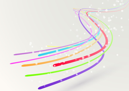 Abstract colorful bright rainbow spectrum streaming swoosh ribbon cable lines - rapidly fly and make digital perspective speed background showing fast motion effect.