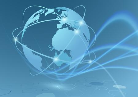 Conexiones comerciales globales viajan relaciones de comunicación - planeta tierra con olas transparentes swoosh resumen de antecedentes futurista.