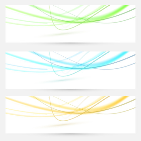Abstract swoosh lines bright banners collection. Vector illustration Vector