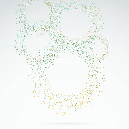 exploded: Exploded particle rings abstract background. Vector illustration