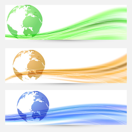 Abstract world map colorful cards or flyers with many swoosh lines collection. Vector illustration Vector