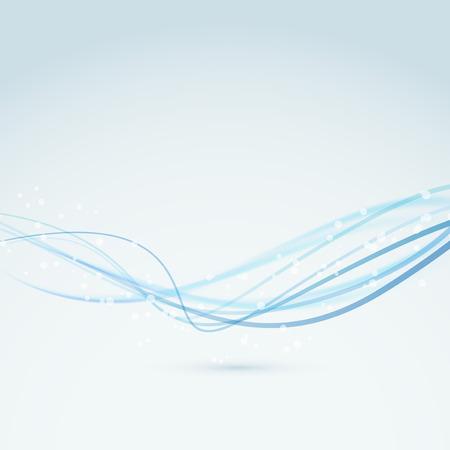 serpentinas: Resumen azules líneas ola swoosh bokeh fondo transparente. Ilustración vectorial