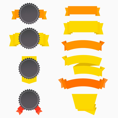 chatbox: Flat badges label banners templates set with ribbons. Vector illustration Illustration