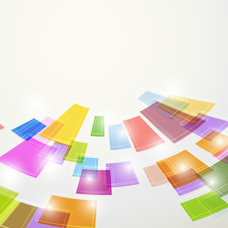 bend: Bright colorful abstract square elements fly bend background