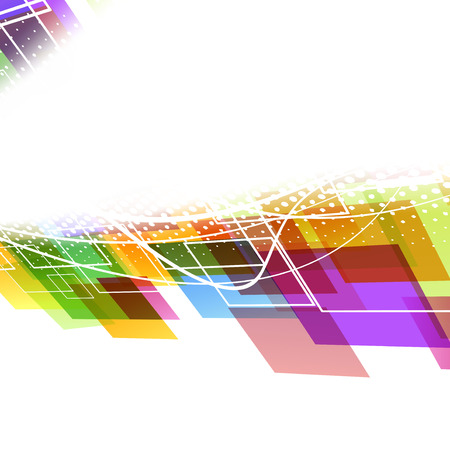 Bright rainbow colorful abstract wave tile template Vector