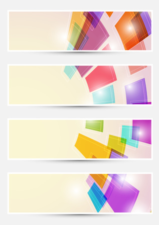 Bright rainbow colorful tile square headers cards collections Vector