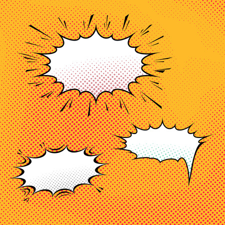 Comic dotted talk speech bubble pop-art over dotted background Vector