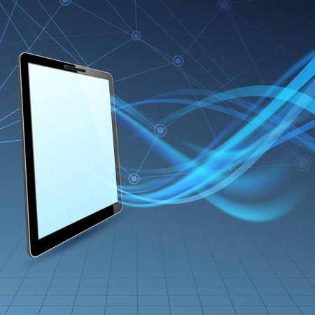 Communication run through tablet device Vector