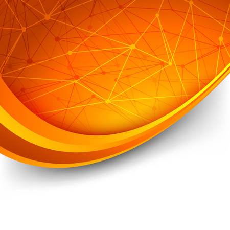 intricacy: Bright orange intricacy molecule background - swoosh waves lines