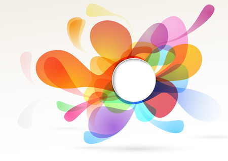 Bright colorful liquid abstract isolated decoration design element rainbow bubble with white empty circle text message space Vector