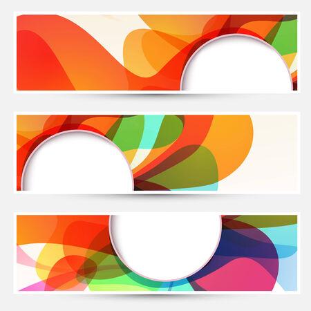 circle design: Bright liquid flow colorful banners set Illustration