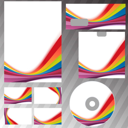stationary set: Corporate style rainbow swoosh line template Illustration