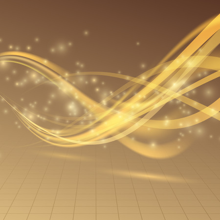 glare: Golden bright shimmering energy wave lines glare. Vector illustration