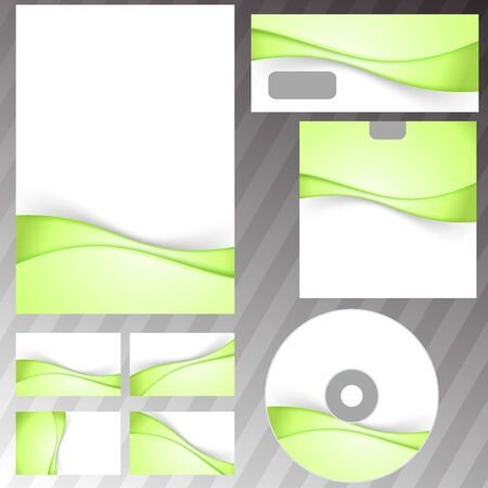 Green fresh eco swoosh stationery set Vector