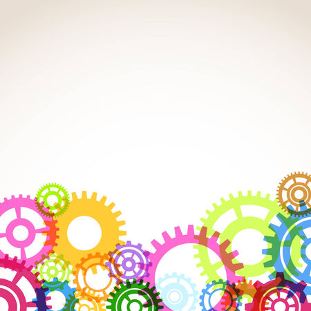 Bright colorful gear mechanism abstraction. Vector illustration Vector