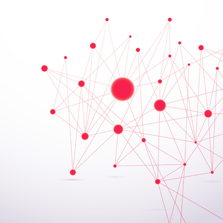 social net: Red molecular connection hi-tech structure.