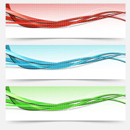 Bright swoosh lines cards set - templates Vector