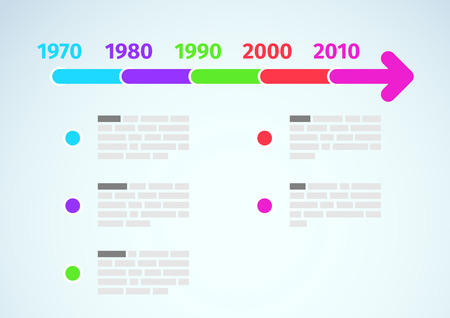 Timeline infographic with dates and description. Vector illustration Vector