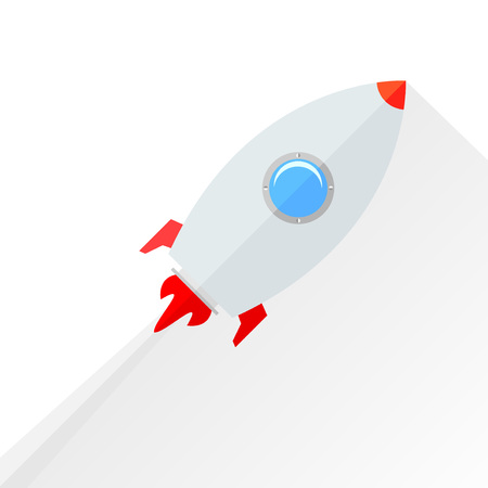 vapor trail: Flat rocket flying isolated over white. Vector illustration Illustration