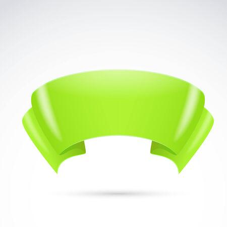 streamer: Bright green ribbon badge sign banner. Vector illustration