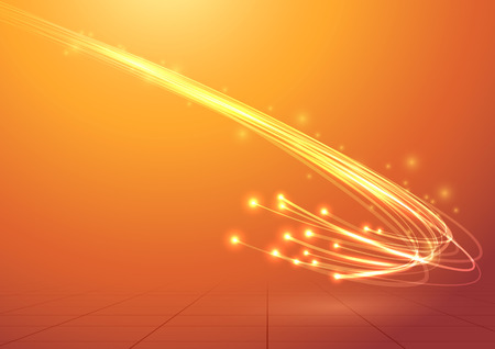 fiber optic: Bright electric abstract cable speed bandwidth.  Illustration