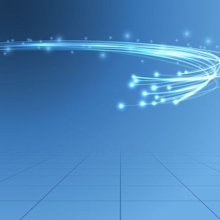 Cable bandwidth flaring electric background illustrating fiber optics bandwidth traffic line over blue background. 일러스트
