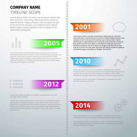 chronological: Timeline text visual infographics template. Vector illustration Illustration