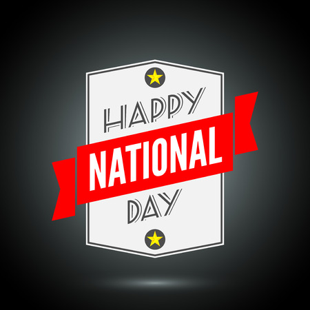 prc: Happy national day badge with ribbon. Vector illustration Illustration