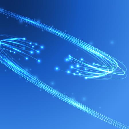 fibra óptica: Conexión de energía Cable - tecnología de flujo de la electricidad. Ilustración vectorial Vectores