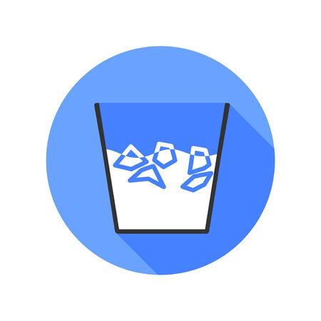 bucket of water: Ice Bucket Challenge icon long shadow. Vector illustration