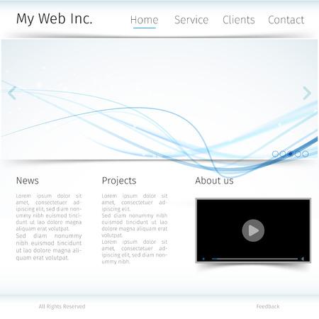 Modern website design with blue wave theme. Vector illustration Vector