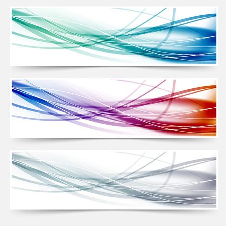 divided: Wave headers set - swoosh hi-tech lines. Vector illustration Illustration