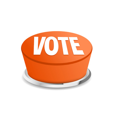 vote button: Time to vote button sign template symbol give voice choose. Vector illustration