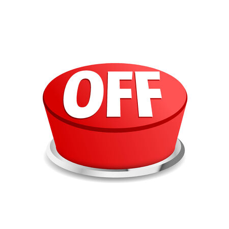 Turn off button sign template red - push ignition symbol sign. Vector illustration Illustration