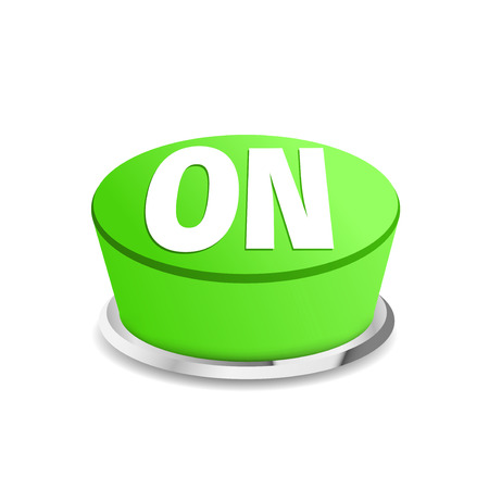 commencing: Turn on button sign template green. Vector illustration