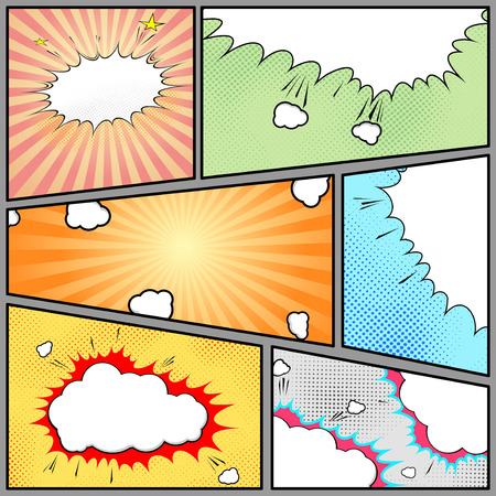 La página de estilo pop-art Comic fondo de la vendimia - tira página con divertidos diseños de puntos y haz