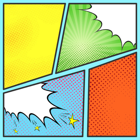 Pop-art comic page sheet template - with collection of beam and dot backgrounds 일러스트