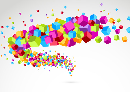 Bright colorful cube 3d swoosh background. Vector illustration Vector