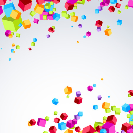 Colorful bright cube exploded particle background. Vector illustration