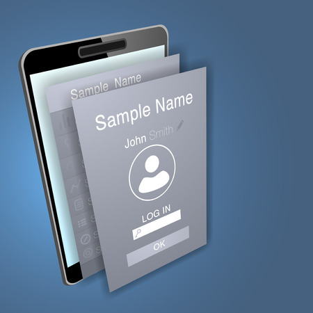 examples: Mobile app screens over mobile phone device. Vector illustration