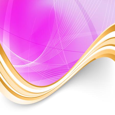 swoosh: Pink folder background golden border swoosh. Vector illustration