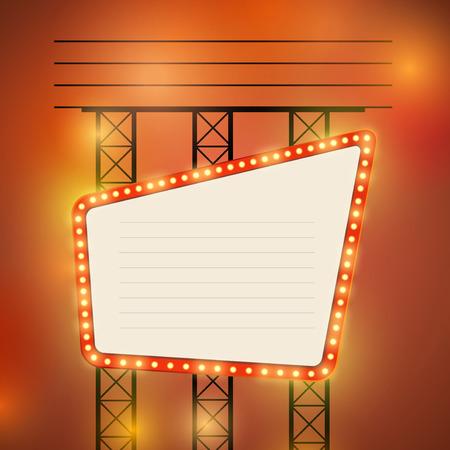 Retro cinema theater bright bulb sign    Vector