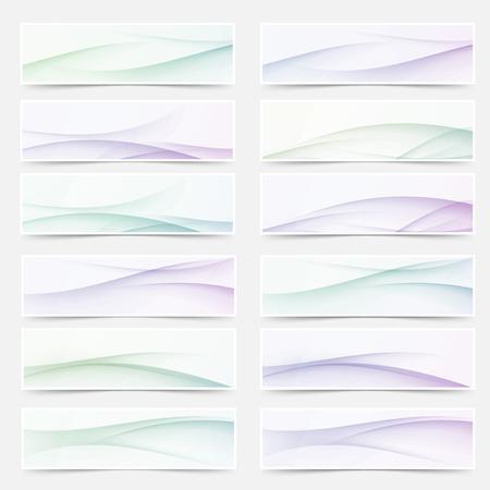footer: Swoosh wave lines smooth headers mega set. Vector illustration Illustration