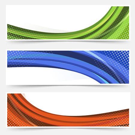 Wave line dotted web banners set. Vector illustration Vector