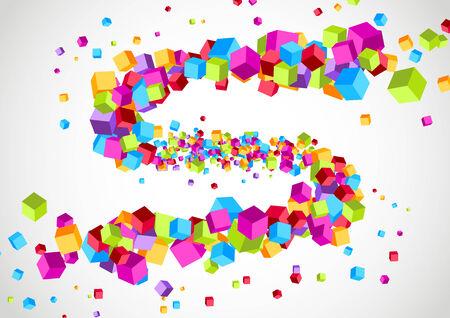 Colorful bright cubic particle tornado swoosh. Vector