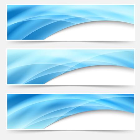 footer: Blue glow swoosh line header footer set