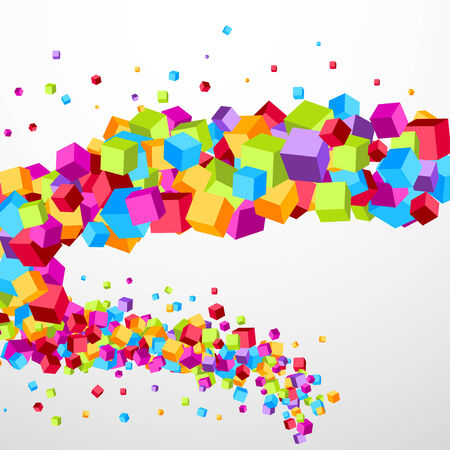 Bright cube fly perspective template.  Vector