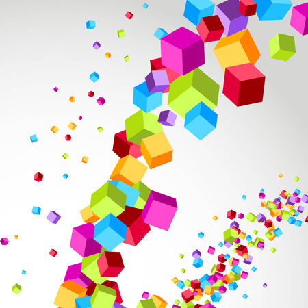 Flying cube colorful bright wave perspective swoosh line.  Vector